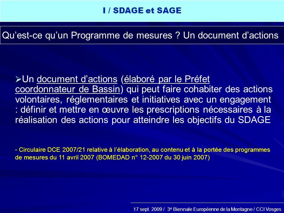 Qu'est-ce qu'un Programme de mesures Un document d'actions
