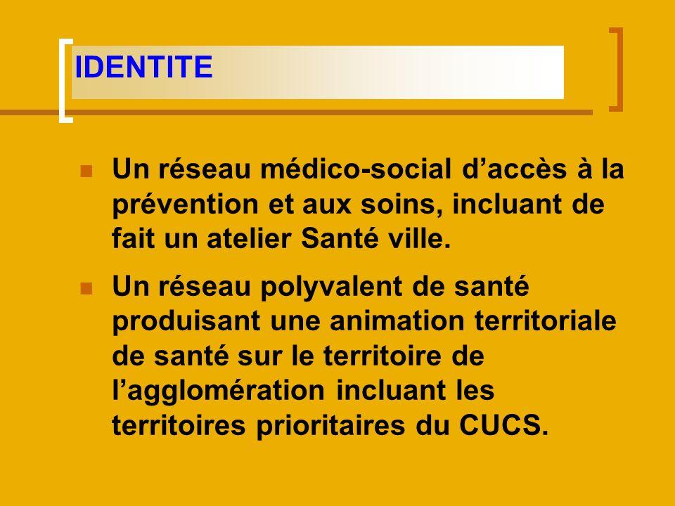 IDENTITE Un réseau médico-social d'accès à la prévention et aux soins, incluant de fait un atelier Santé ville.