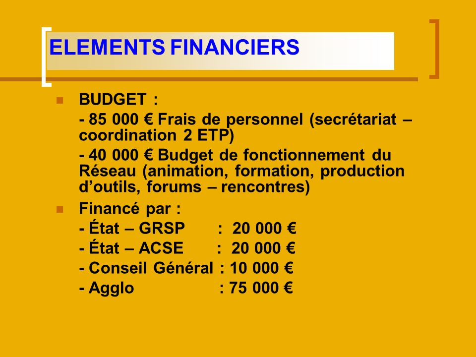 ELEMENTS FINANCIERS BUDGET :