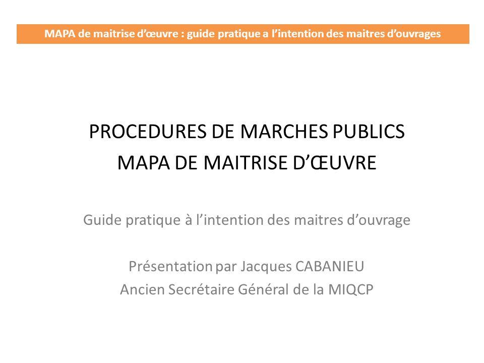 PROCEDURES DE MARCHES PUBLICS MAPA DE MAITRISE D'ŒUVRE