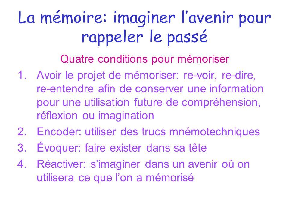 La mémoire: imaginer l'avenir pour rappeler le passé