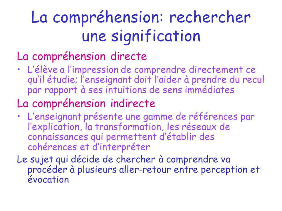 La compréhension: rechercher une signification