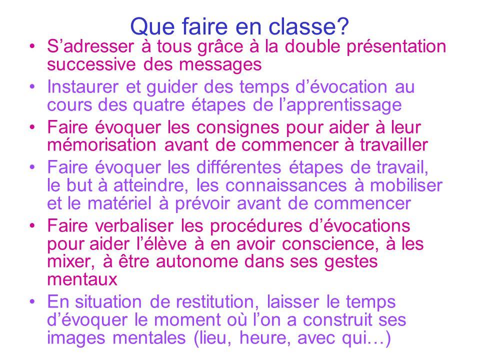Que faire en classe S'adresser à tous grâce à la double présentation successive des messages.