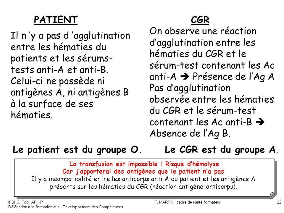 sérum-test contenant les Ac anti-A  Présence de l'Ag A