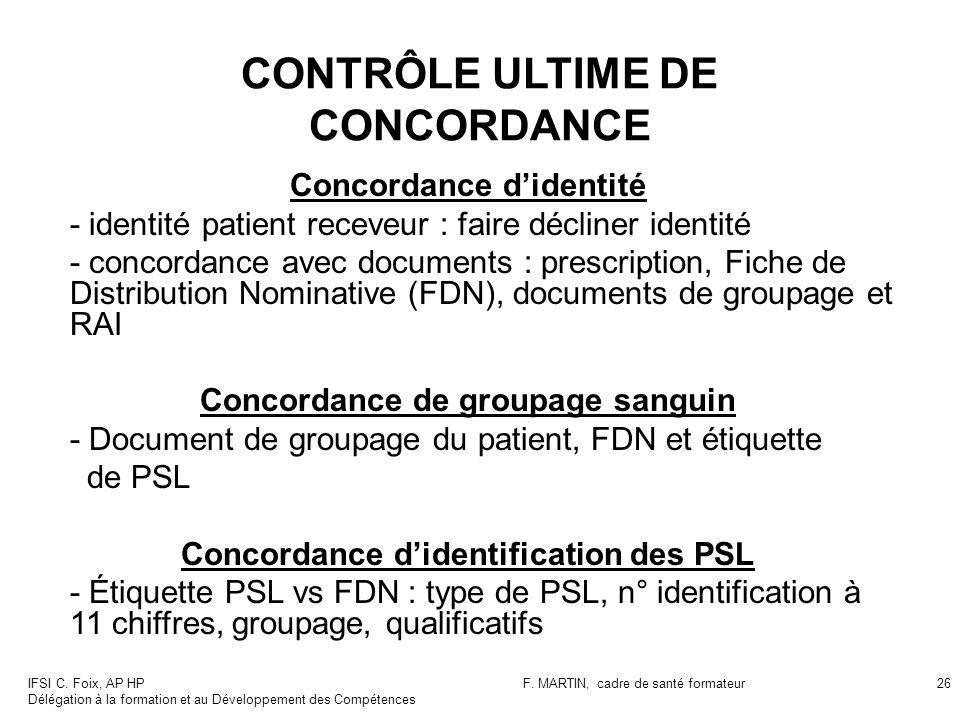 CONTRÔLE ULTIME DE CONCORDANCE