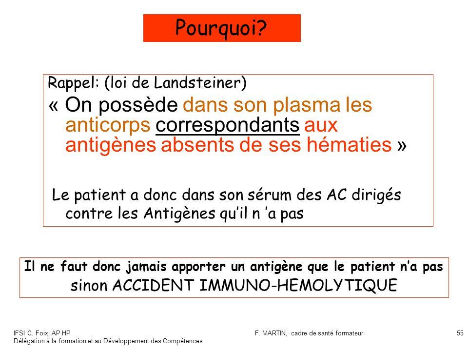 Pourquoi Rappel: (loi de Landsteiner) « On possède dans son plasma les anticorps correspondants aux antigènes absents de ses hématies »