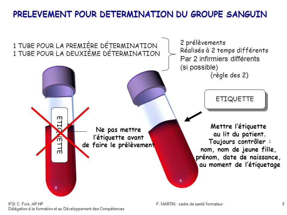 PRELEVEMENT POUR DETERMINATION DU GROUPE SANGUIN