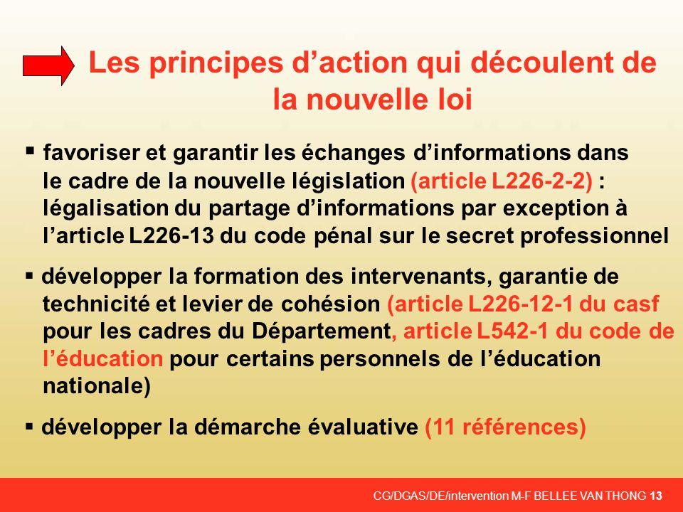 Les principes d'action qui découlent de la nouvelle loi