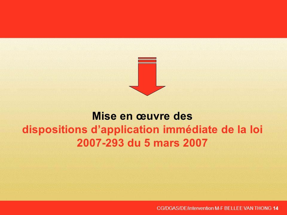 Mise en œuvre des dispositions d'application immédiate de la loi 2007-293 du 5 mars 2007