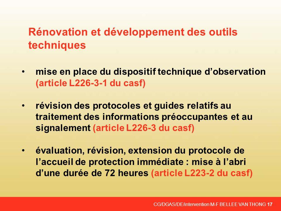 Rénovation et développement des outils techniques