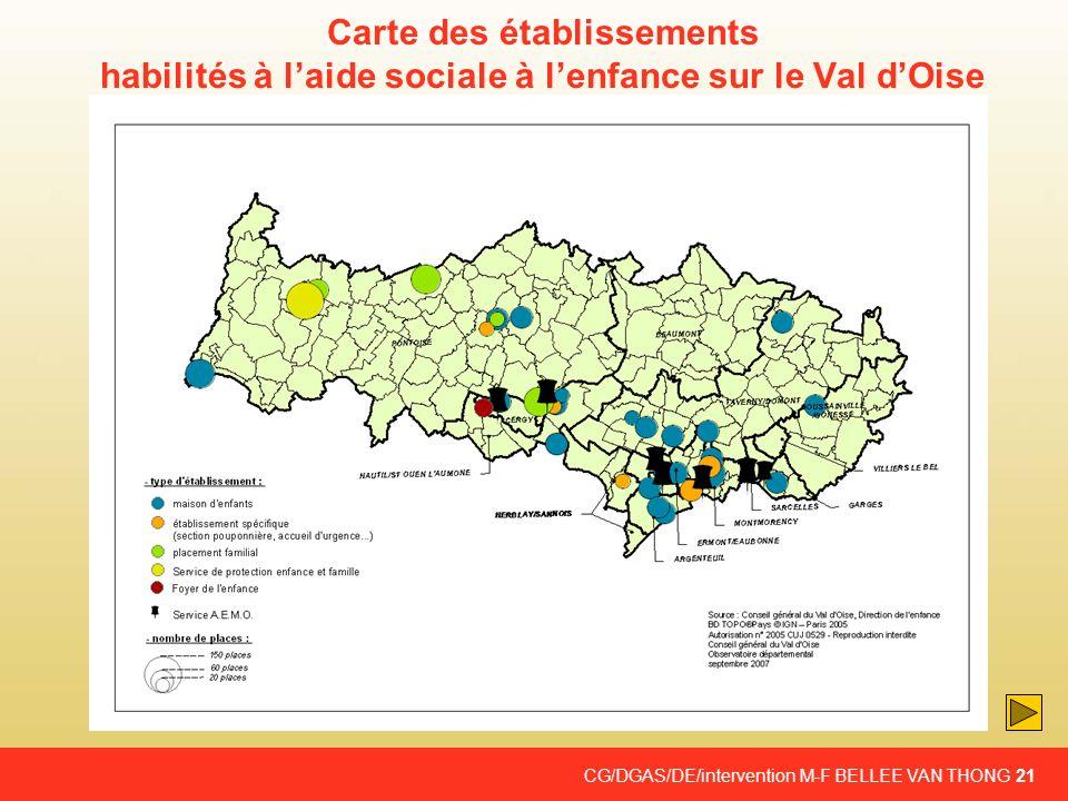 Carte des établissements habilités à l'aide sociale à l'enfance sur le Val d'Oise