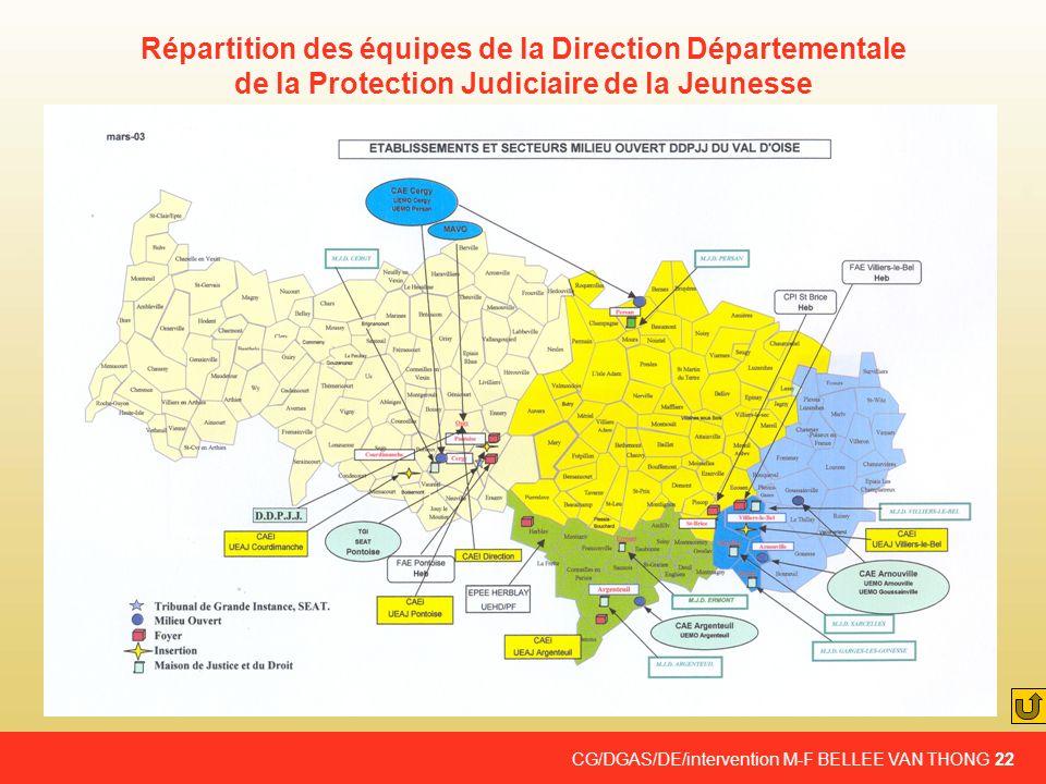 Répartition des équipes de la Direction Départementale de la Protection Judiciaire de la Jeunesse