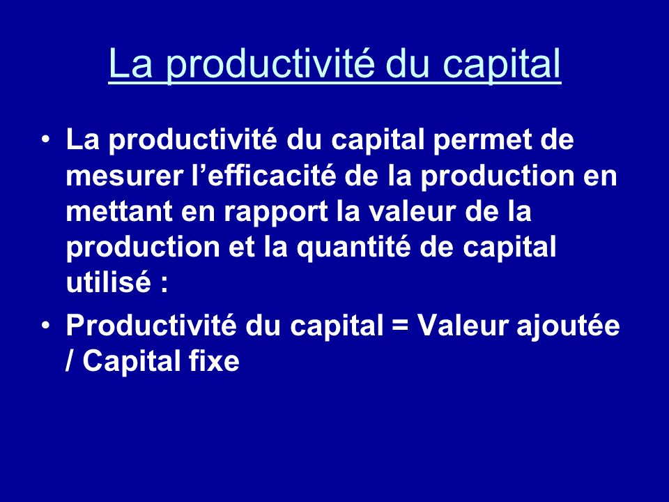 La productivité du capital