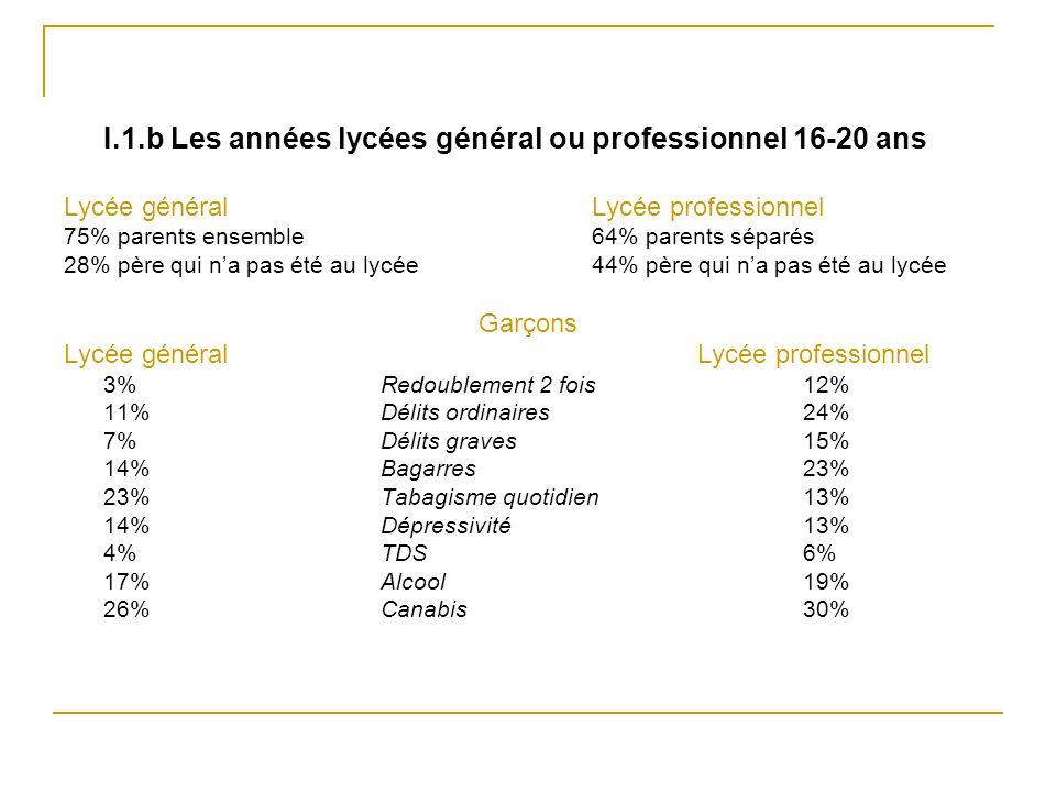 I.1.b Les années lycées général ou professionnel 16-20 ans