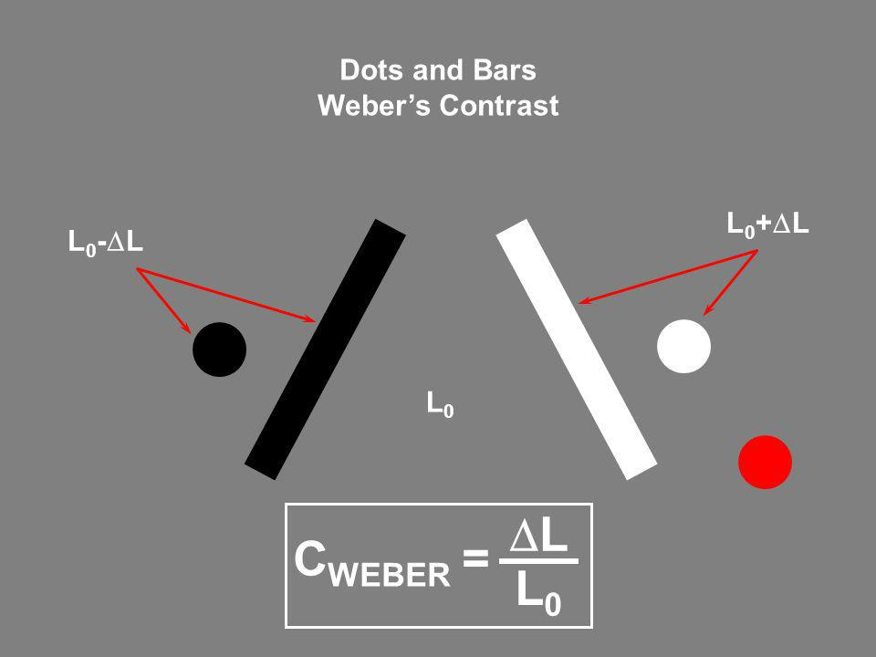 Dots and Bars Weber's Contrast L0+DL L0-DL L0 CWEBER = DL L0