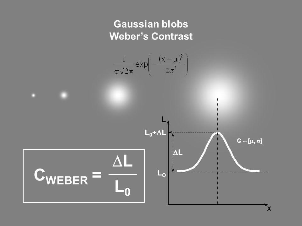 DL CWEBER = L0 Gaussian blobs Weber's Contrast L L0+DL DL LO x