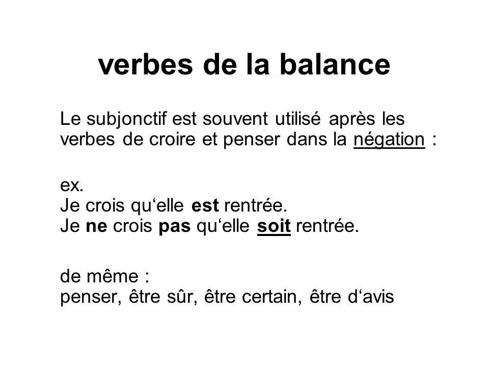 verbes de la balance Le subjonctif est souvent utilisé après les verbes de croire et penser dans la négation :