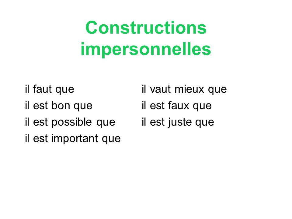 Constructions impersonnelles