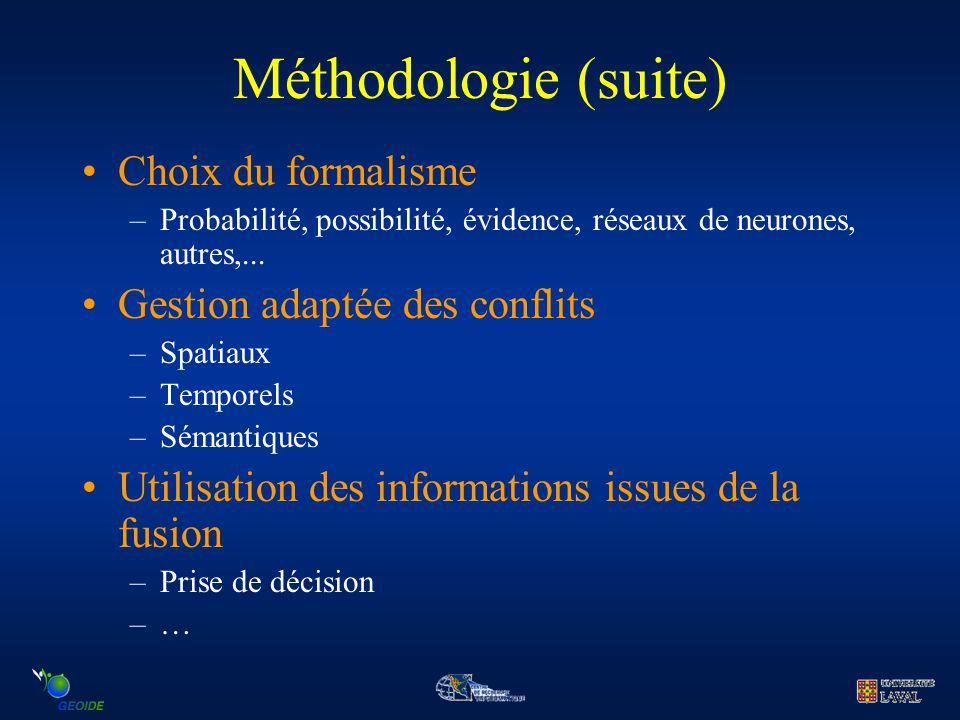 Méthodologie (suite) Choix du formalisme Gestion adaptée des conflits