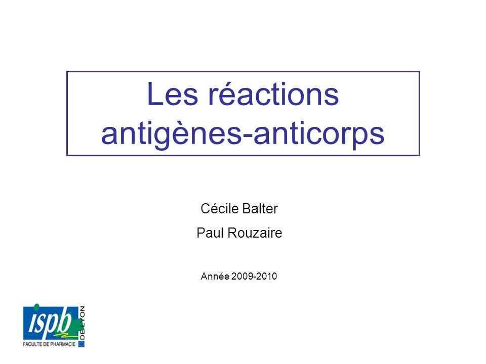 Les réactions antigènes-anticorps