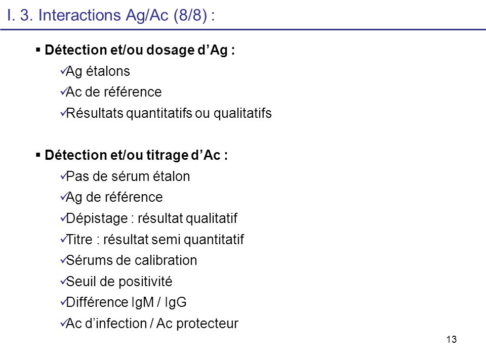 I. 3. Interactions Ag/Ac (8/8) :