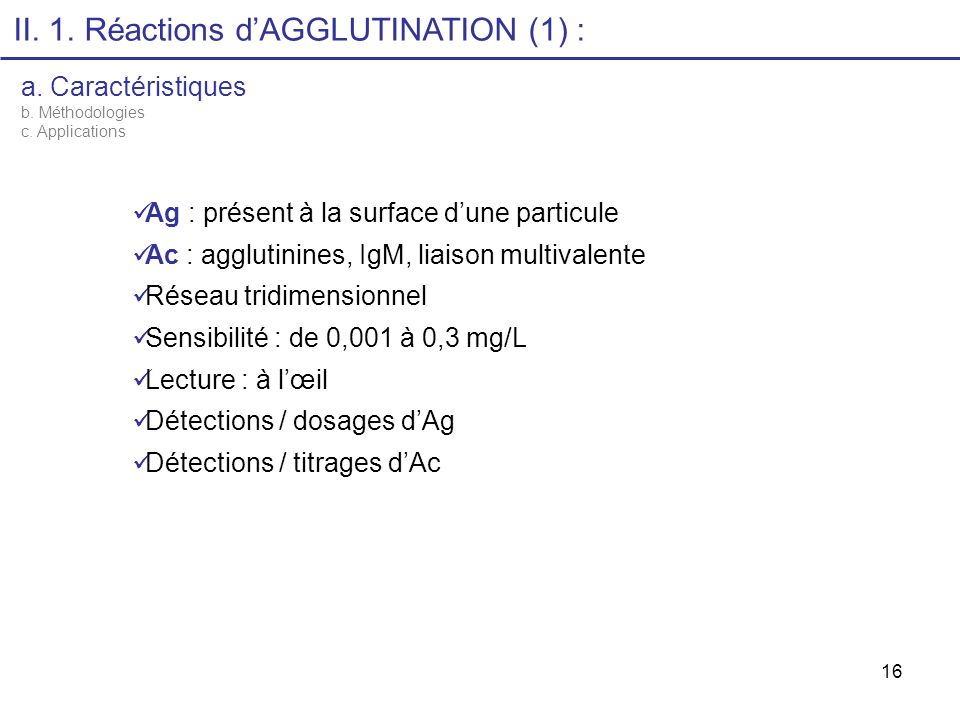 II. 1. Réactions d'AGGLUTINATION (1) :