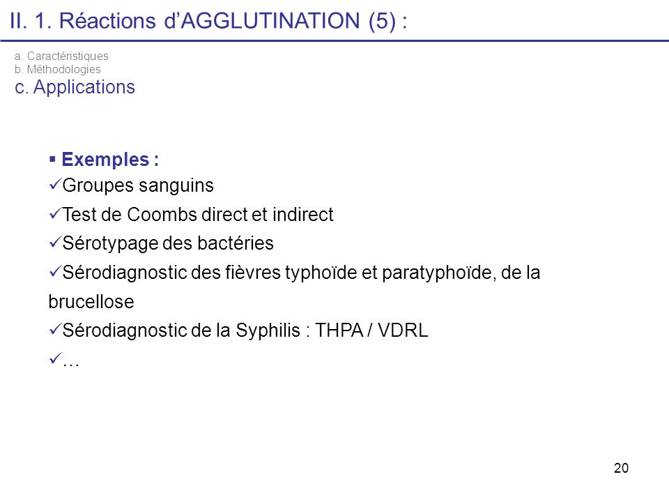 II. 1. Réactions d'AGGLUTINATION (5) :