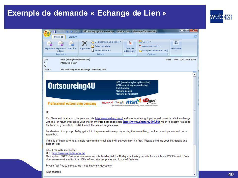 Exemple de demande « Echange de Lien »