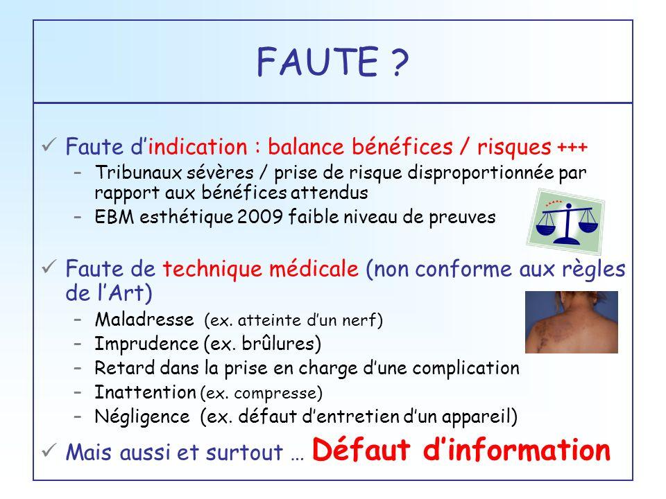 FAUTE Faute d'indication : balance bénéfices / risques +++