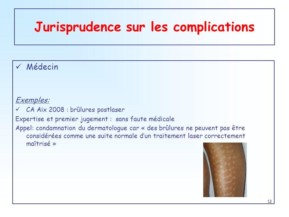 Jurisprudence sur les complications