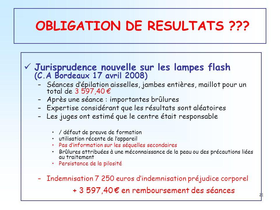 OBLIGATION DE RESULTATS