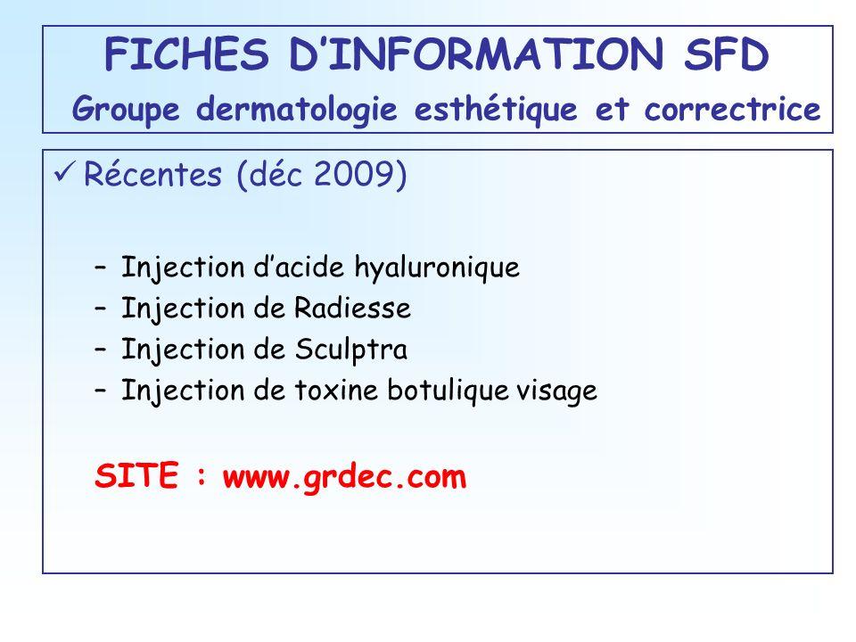FICHES D'INFORMATION SFD Groupe dermatologie esthétique et correctrice