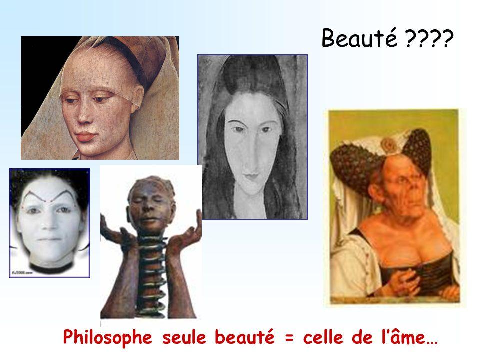 Beauté Philosophe seule beauté = celle de l'âme…