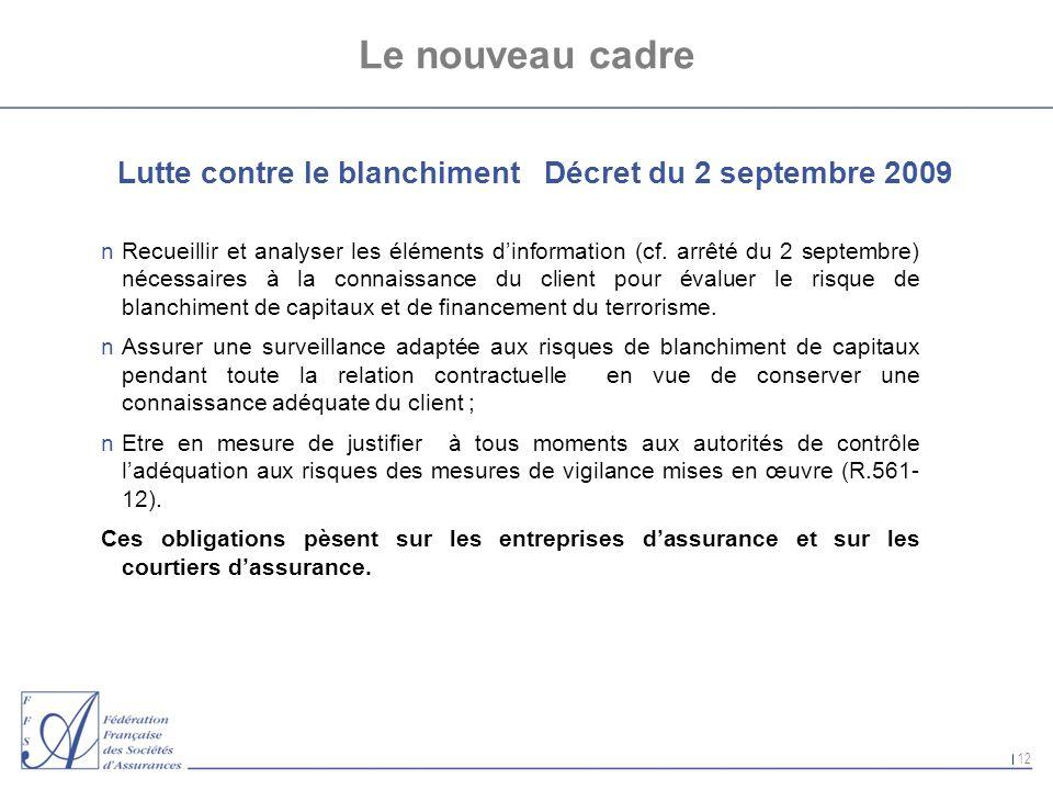 Le nouveau cadreLutte contre le blanchiment Décret du 2 septembre 2009.