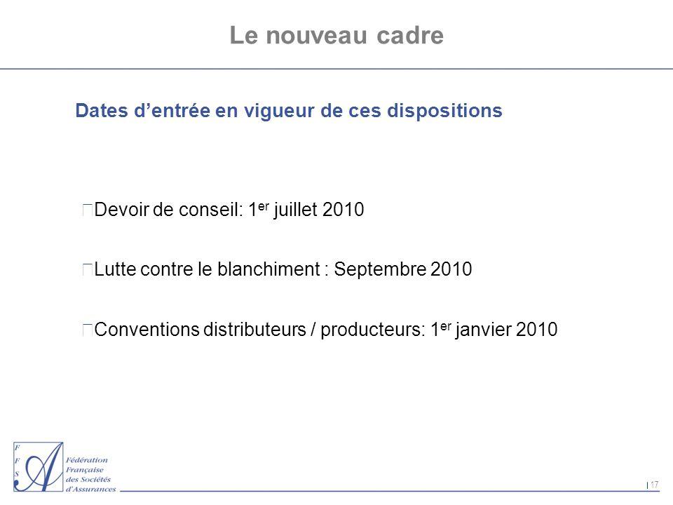 Le nouveau cadre Dates d'entrée en vigueur de ces dispositions