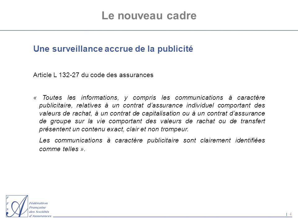 Le nouveau cadre Une surveillance accrue de la publicité