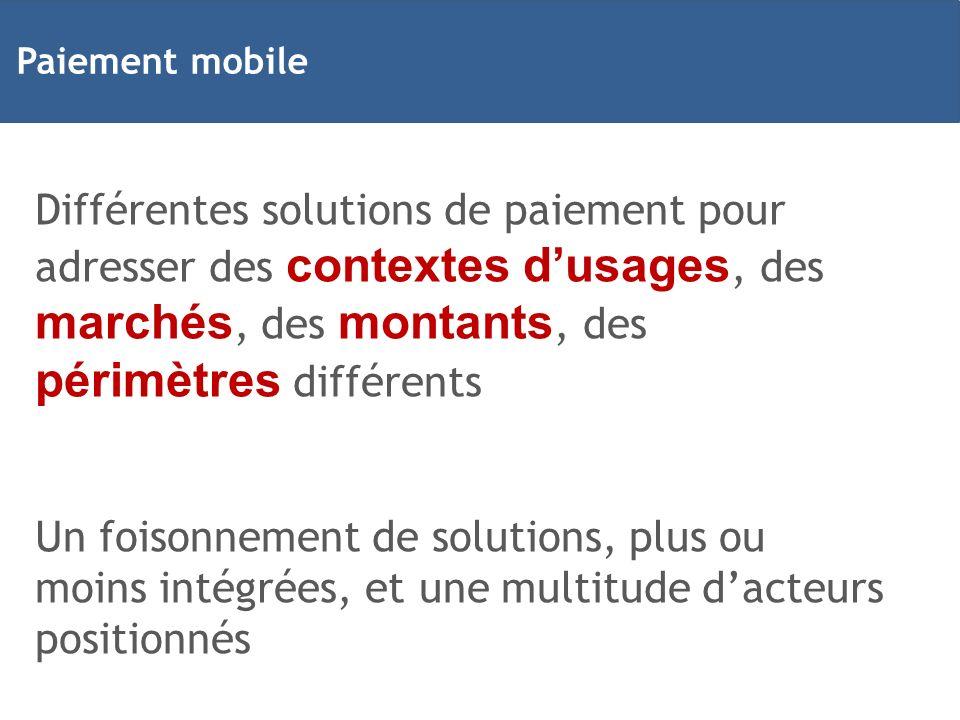 Paiement mobile Différentes solutions de paiement pour adresser des contextes d'usages, des marchés, des montants, des périmètres différents.
