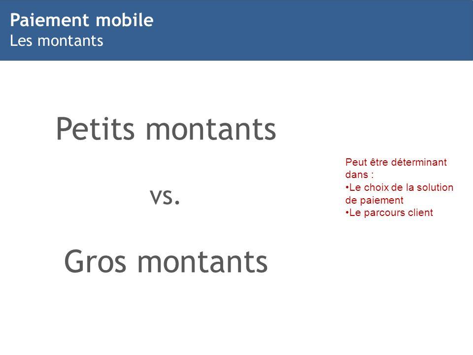 Petits montants Gros montants vs. Paiement mobile Les montants