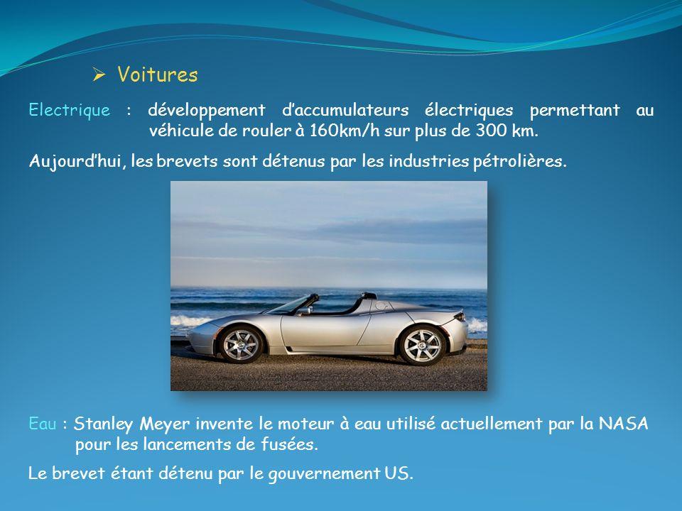 Voitures Electrique : développement d'accumulateurs électriques permettant au véhicule de rouler à 160km/h sur plus de 300 km.