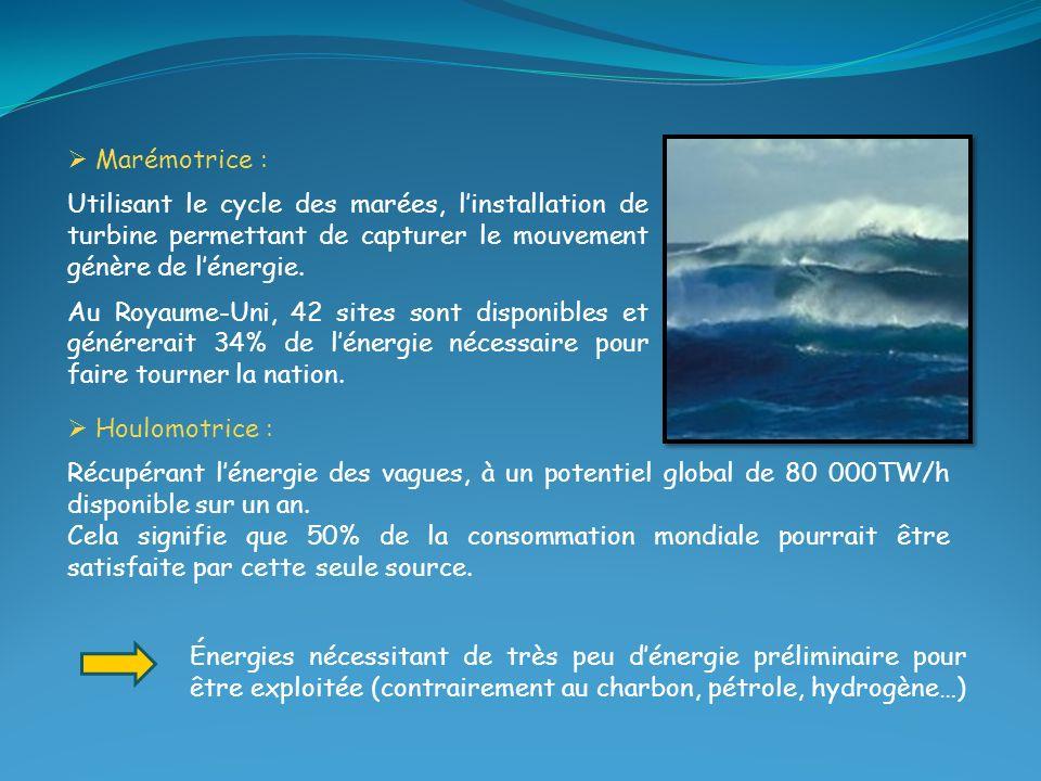 Marémotrice : Utilisant le cycle des marées, l'installation de turbine permettant de capturer le mouvement génère de l'énergie.