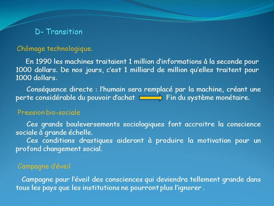 D- Transition Chômage technologique.