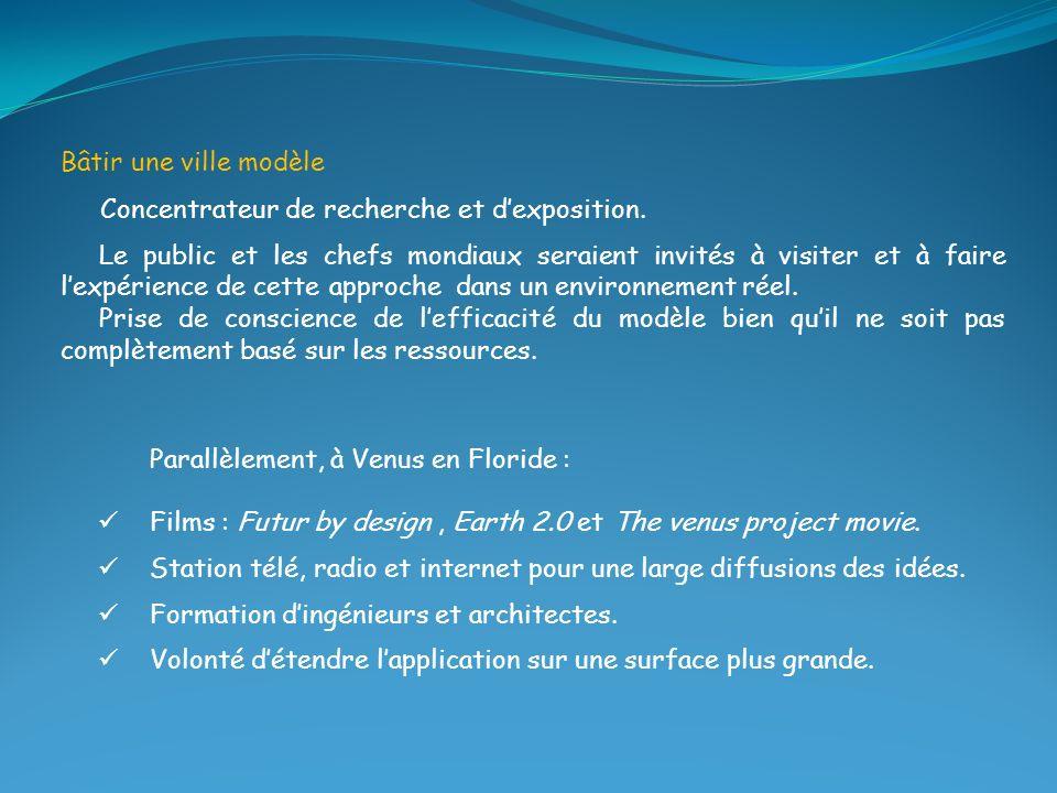 Bâtir une ville modèle Concentrateur de recherche et d'exposition.