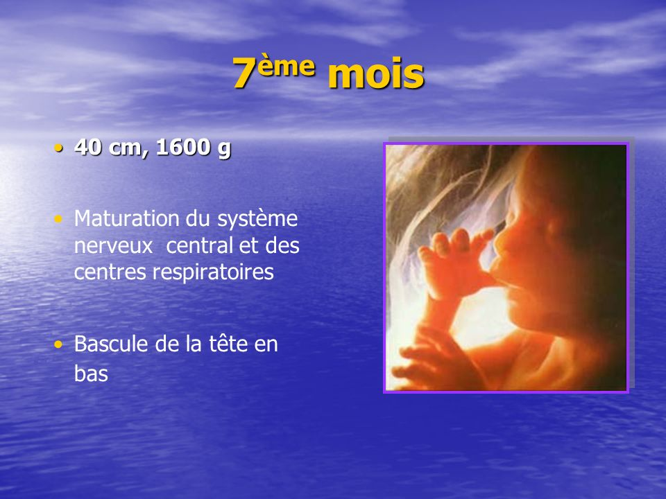 7ème mois 40 cm, 1600 g.Maturation du système nerveux central et des centres respiratoires.