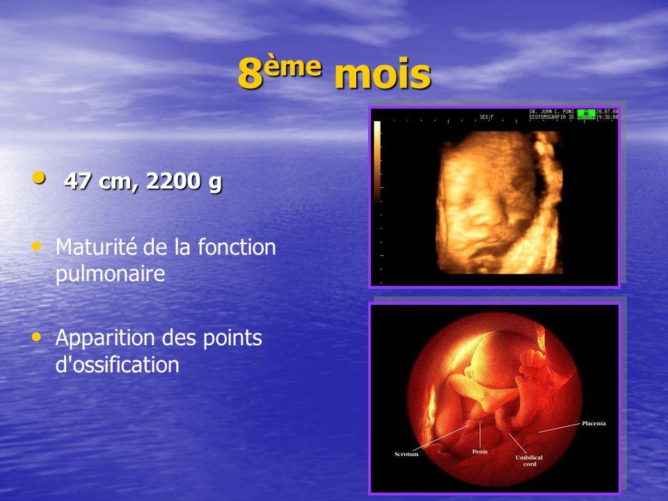 8ème mois 47 cm, 2200 g Maturité de la fonction pulmonaire