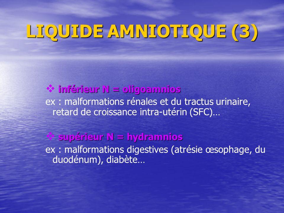 LIQUIDE AMNIOTIQUE (3) inférieur N = oligoamnios