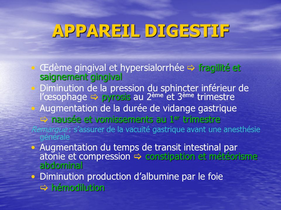APPAREIL DIGESTIFŒdème gingival et hypersialorrhée  fragilité et saignement gingival.