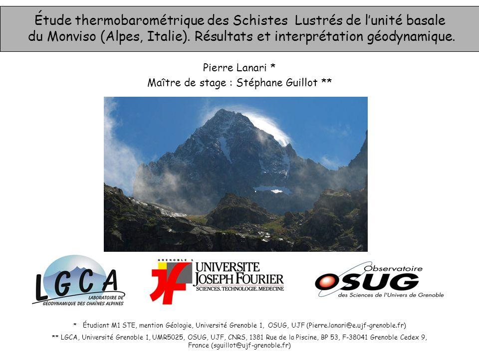 Étude thermobarométrique des Schistes Lustrés de l'unité basale du Monviso (Alpes, Italie). Résultats et interprétation géodynamique.