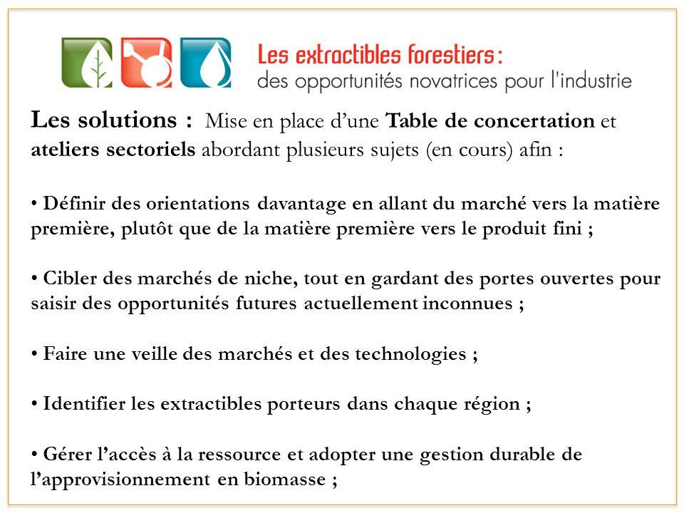 Les solutions : Mise en place d'une Table de concertation et ateliers sectoriels abordant plusieurs sujets (en cours) afin :