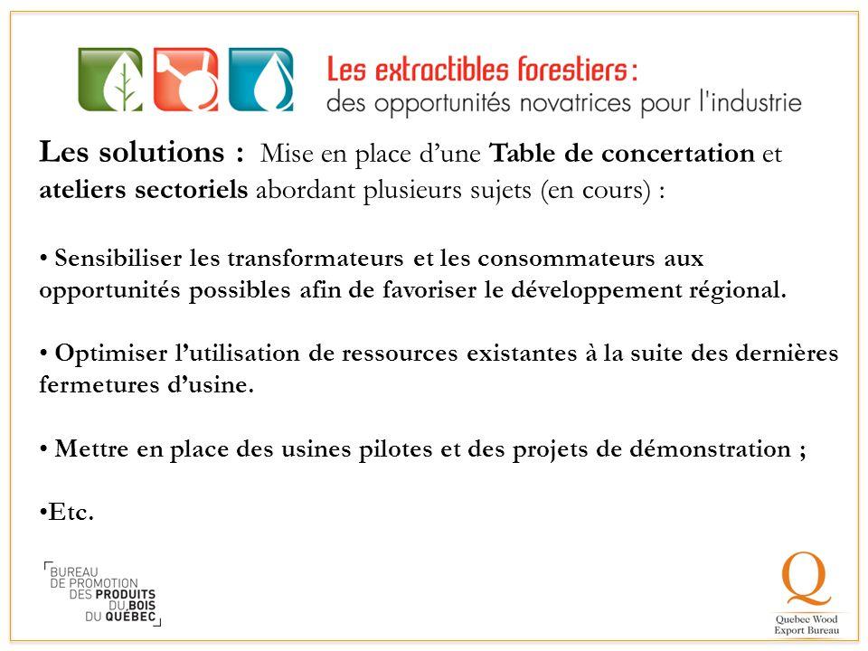 Les solutions : Mise en place d'une Table de concertation et ateliers sectoriels abordant plusieurs sujets (en cours) :