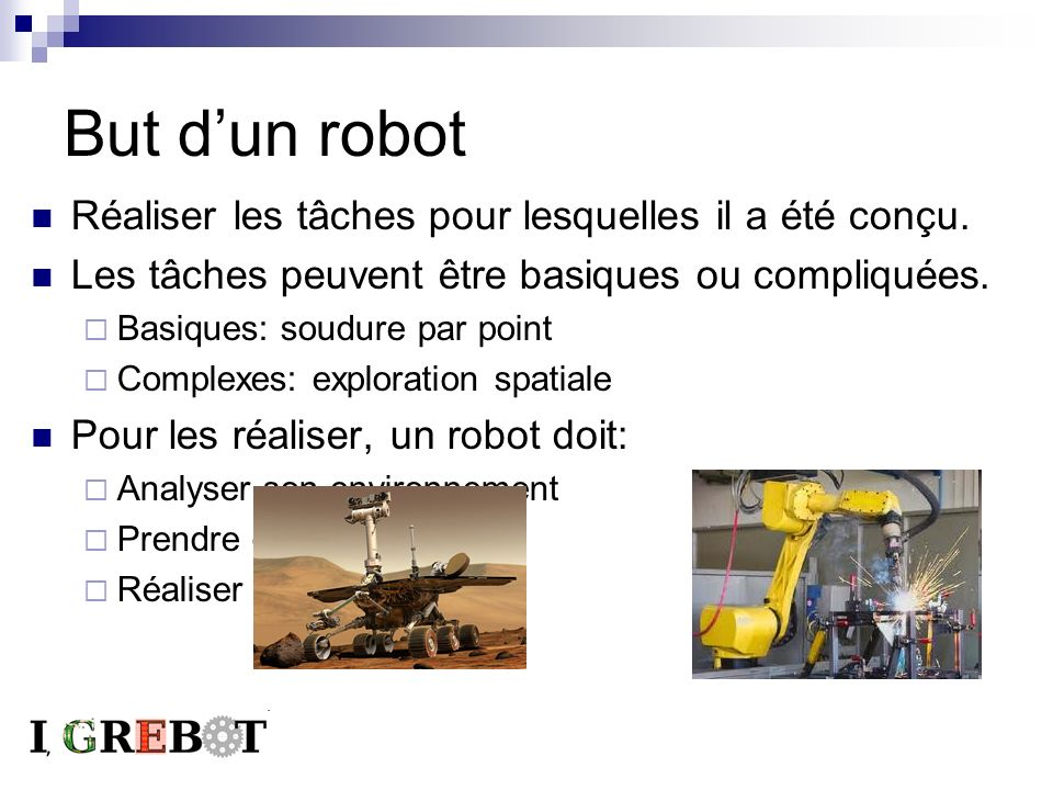 But d'un robot Réaliser les tâches pour lesquelles il a été conçu.